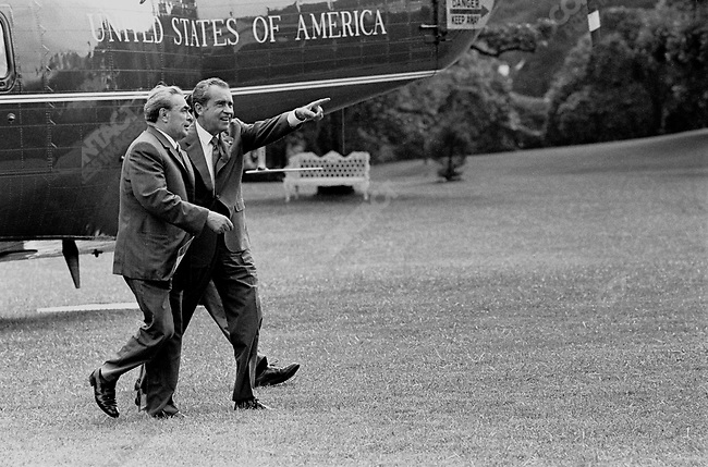 Richard Nixon, walks with Soviet Permier Leonid Brezhnev from helicopert to White House, US - Soviet summit, Washington D.C., June 1973