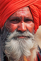 Portrait Rajpute face of a man wearing a beard and a turban, Rajasthan, India, Asia