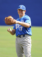 Infielder Derek Hamblen (17) of the Burlington Royals, Appalachian League affiliate of the Kansas City Royals, prior to a game against the Kingsport Mets on August 20, 2011, at Hunter Wright Stadium in Kingsport, Tennessee. Kingsport defeated Burlington, 17-14. (Tom Priddy/Four Seam Images)