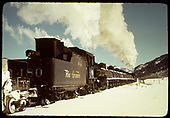 #480 as the pusher on a Tank Train East of Chama.<br /> D&amp;RGW  e. of Chama, NM  Taken by Gildersleeve, Thomas H.