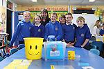 Welsh Water visit to Blaenhondden Primary School..L-R: Callie Rattenbury, Katrina Cerkase, Welsh Water teacher Mary Watkins, Holly Saltmarsh, Ewan Lewis James Gorman & Elli Evans..25.04.13.©Steve Pope