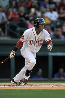 Center fielder Luis Alexander Basabe (19) of the Greenville Drive bats in a game against the Columbia Fireflies on Thursday, April 21, 2016, at Fluor Field at the West End in Greenville, South Carolina. Columbia won, 13-9. (Tom Priddy/Four Seam Images)