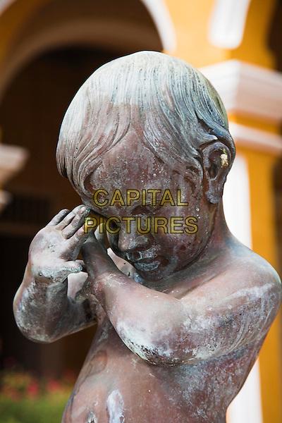 Shy boy statue in courtyard, Palacio Cantero, Museo Historico Municipal, Trinidad, Sancti Spiritus Province, Cuba