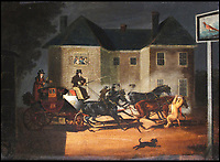 BNPS.co.uk (01202 558833)<br /> Pic: BNPS<br /> <br /> The lion attack at the Pheasant Inn was immortalised in this painting.<br /> <br /> Last Post - Britain's last Royal Mail carriage, that bizarrely once survived an attack by a lion outside Salisbury, has been saved for the nation.<br /> <br /> The 200-year-old horse-drawn carriage harks back to the golden age of the Royal Mail when crowds gathered along the route to see the lightning-quick service thunder by.<br /> <br /> The restored four horse coach was known as 'Quicksilver' as it was the fastest in the land on its regular 21 hour run from Devonport, Devon, to London.<br /> <br /> But the red and black wooden wagon went down in history for an extraordinary incident involving a lion in the English countryside in 1816.