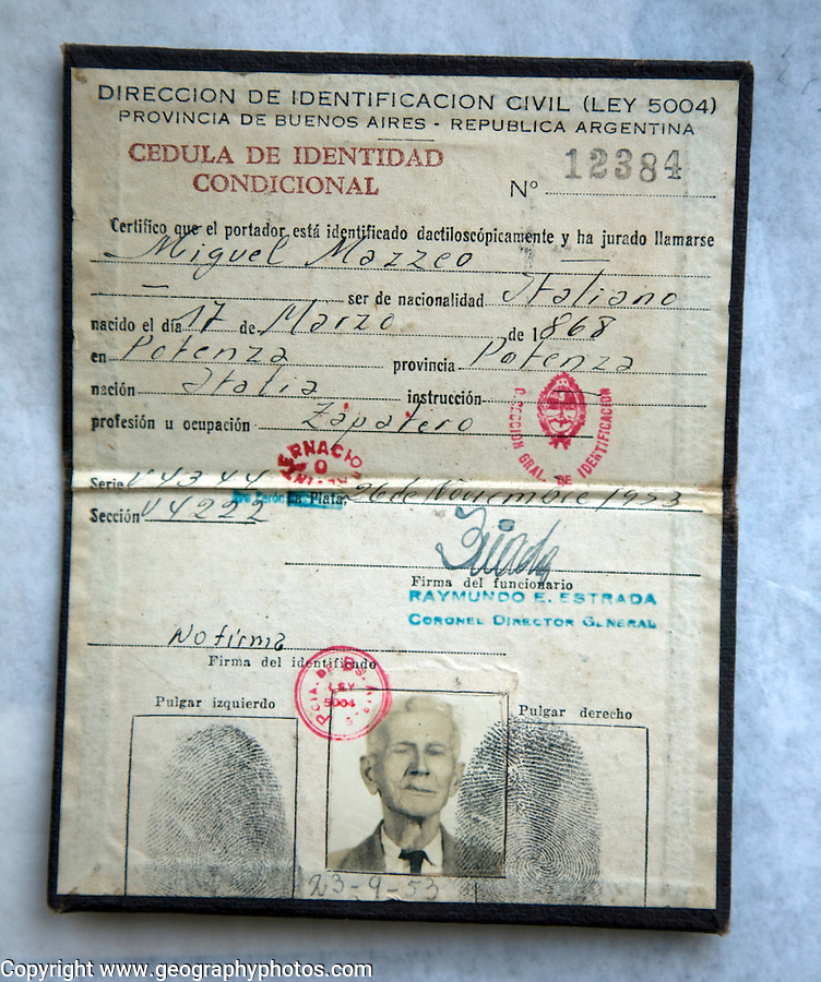 Old identity papers from Argentina