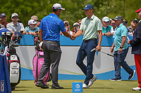 Hideki Matsuyama (JPN) shakes hands with Jordan Spieth (USA) before round 1 of the AT&amp;T Byron Nelson, Trinity Forest Golf Club, Dallas, Texas, USA. 5/9/2019.<br /> Picture: Golffile | Ken Murray<br /> <br /> <br /> All photo usage must carry mandatory copyright credit (&copy; Golffile | Ken Murray)