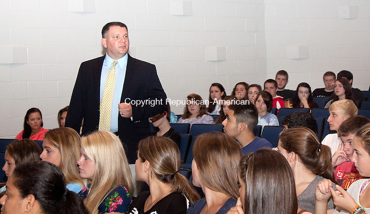 WATERBURY CT- SEPTEMBER30 2011 -090512DA01- Seymour High School's new Principal Glenn Lungarini, former assistant principal/athletic director at Oxford High School, introduces himself on the first day of school Wednesday and tells the students his expectation for a successful school year..Darlene Douty Republican-American