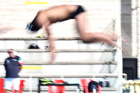 Mattia Zuin dives to start a training session.  <br /> Italian athletes were able to resume training last week after more than 50 days of lockdown due to the coronavirus (covid-19) pandemic <br /> Roma 12-5-2020 Centro Federale di Ostia <br /> Photo Andrea Staccioli / Deepbluemedia / Insidefoto