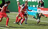 Portland, OR - Saturday September 02, 2017: DiDi Haracic, Nadia Nadim, Christine Sinclair scores a goal during a regular season National Women's Soccer League (NWSL) match between the Portland Thorns FC and the Washington Spirit at Providence Park.