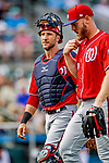 1 March 2019: Washington Nationals catcher Yan Gomes walks back to the dugout during a Spring Training game against the Miami Marlins at Roger Dean Stadium in Jupiter, Florida. The Nationals defeated the Marlins 5-4 in Grapefruit League play. Mandatory Credit: Ed Wolfstein Photo *** RAW (NEF) Image File Available ***
