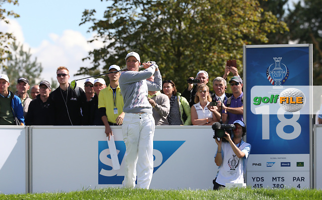 Suzann Pettersen (NOR) and Charley Hull (ENG) claw back a 3 hole deficit to take the match down the last during Saturday morning's Foursomes, at The Solheim Cup 2015 played at Golf Club St. Leon-Rot, Mannheim, Germany.  19/09/2015. Picture: Golffile | David Lloyd<br /> <br /> All photos usage must carry mandatory copyright credit (&copy; Golffile | David Lloyd)