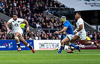 One handed ball carrying Joe Cokanasiga of England during the Guinness Six Nations match between England and Italy at Twickenham Stadium on March 9th, 2019 in London, United Kingdom. Photo by Liam McAvoy.
