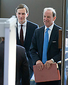 Trump senior advisor Jared Kushner, left, and his attorney Abbie Lowell, right, arrive to give testimony before the US Senate Select Committee on Intelligence on his role meeting the Russians in relation to the 2016 US Presidential election on Capitol Hill in Washington, DC on Monday, July 24, 2017.<br /> Credit: Ron Sachs / CNP<br /> (RESTRICTION: NO New York or New Jersey Newspapers or newspapers within a 75 mile radius of New York City)