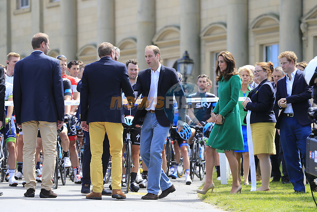 HRH The Duke and Duchess of Cambridge and Prince Harry at Harewood House for the official start Stage 1 of the 2014 Tour de France running 190.5km from Leeds to Harrogate. 5th July 2014.<br /> Picture: Eoin Clarke www.newsfile.ie