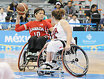 November 19 2011 - Guadalajara, Mexico:  Katie Harnock of Team Canada looks for a pass in the Gold Medal Game against Team USA in the CODE Alcalde Sports Complex at the 2011 Parapan American Games in Guadalajara, Mexico.  Photos: Matthew Murnaghan/Canadian Paralympic Committee