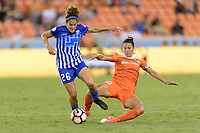 Houston, TX - Wednesday June 28, 2017: Carli Lloyd attempts to strip the ball from Angela Salem during a regular season National Women's Soccer League (NWSL) match between the Houston Dash and the Boston Breakers at BBVA Compass Stadium.