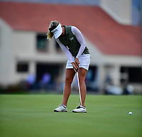 Pernilla Lindberg of Sweden putts on the 2nd playoff hole, on the 18th green during the final round of the ANA Inspiration at the Mission Hills Country Club in Palm Desert, California, USA. 4/1/18.<br /> <br /> Picture: Golffile | Bruce Sherwood<br /> <br /> <br /> All photo usage must carry mandatory copyright credit (&copy; Golffile | Bruce Sherwood)