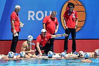 ROU Coach STANOJEVIC Dejan Time OUT <br /> ROU - FRA Roumania (white caps) vs. France (blue caps) <br /> Barcelona 26/07/2018 Piscines Bernat Picornell <br /> Men Final 11th 12th place <br /> 33rd LEN European Water Polo Championships - Barcelona 2018 <br /> Photo Andrea Staccioli/Deepbluemedia/Insidefoto