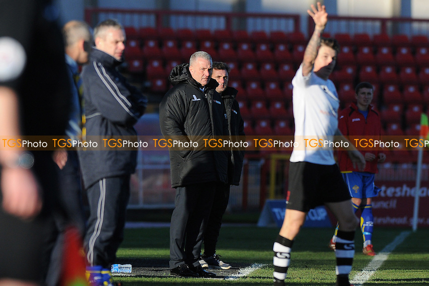 Gateshead FC manager Gary Mills - Gateshead vs Warrington Town - FA Challenge Cup 2nd Round Football at the International Stadium, Gateshead - 07/12/14 - MANDATORY CREDIT: Steven White/TGSPHOTO - Self billing applies where appropriate - contact@tgsphoto.co.uk - NO UNPAID USE