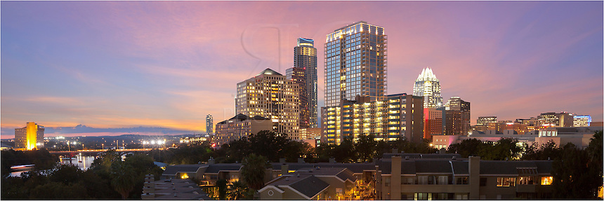 From the Shore Condos, this is the view from the swimming pool area looking west just after sunset. The highrises of downtown Austin begin to light up as evening settles in on the city.