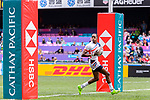 Perry Baker of USA scores a try during the HSBC Hong Kong Sevens 2018 match between USA and Wales on April 7, 2018 in Hong Kong, Hong Kong. Photo by Marcio Rodrigo Machado / Power Sport Images