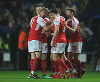 Fleetwood Town's Conor McAleny celebrates scoring his side's first goal with team-mates<br /> <br /> Photographer Kevin Barnes/CameraSport<br /> <br /> The EFL Sky Bet League One - Oxford United v Fleetwood Town - Tuesday 10th April 2018 - Kassam Stadium - Oxford<br /> <br /> World Copyright &copy; 2018 CameraSport. All rights reserved. 43 Linden Ave. Countesthorpe. Leicester. England. LE8 5PG - Tel: +44 (0) 116 277 4147 - admin@camerasport.com - www.camerasport.com