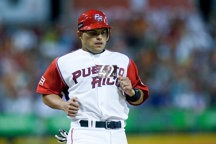 7 March 2009: #7 Ivan Rodriguez of Puerto Rico scores after his second homerun during the 2009 World Baseball Classic Pool D match at Hiram Bithorn Stadium in San Juan, Puerto Rico. Puerto Rico wins 7-0 over Panama.
