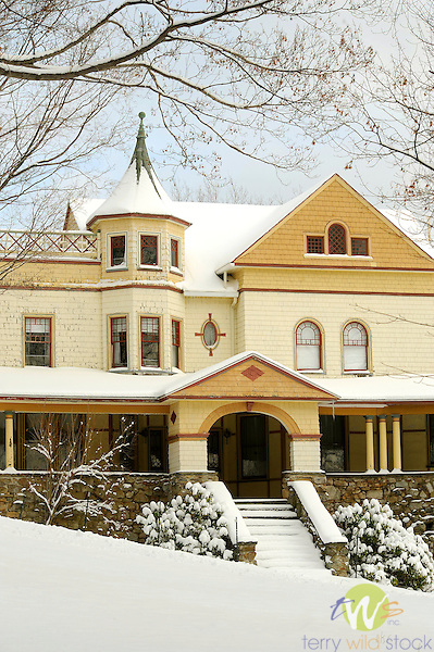 Sullivan County. McCormick Victorian mansion in winter snow