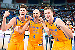 Herbalife Gran Canaria's player Oriol Pauli, Albert Oliver and Xavi Rabaseda during the final of Supercopa of Liga Endesa Madrid. September 24, Spain. 2016. (ALTERPHOTOS/BorjaB.Hojas)