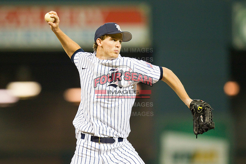Austin Kubitza #21 of the Rice Owls makes a pick-off throw to first base against the Texas A&M Aggies at Minute Maid Park on March 5, 2011 in Houston, Texas.  Photo by Brian Westerholt / Four Seam Images