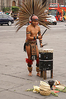 Conchero drummer performing in the Zocalo, Mexico City