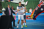 12th January 2018,  Kooyong Lawn Tennis Club, Kooyong, Melbourne, Australia; Priceline Pharmacy Kooyong Classic tennis tournament; Matt Ebden of Australia shows off his runners up trophy after losing the Kooyong Classic final to Pablo Carreno Busta of Spain