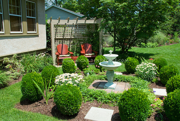 Backyard Seating And Formal Garden Style Landscape With