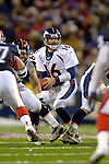 17 December 2005: Denver Broncos quarterback Jake Plummer receives the snap against the Buffalo Bills at Ralph Wilson Stadium in Orchard Park, NY. The Broncos defeated the Bills 28-17. .Mandatory Photo Credit: Ed Wolfstein