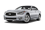 Stock pictures of low aggressive front three quarter view of a 2015 Infiniti Q70 Premium 4 Door Sedan 2WD Low Aggressive