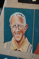 CULTUUR: GOINGARIJP: 04-05-2015, Fok SKS Skûtsjes en portretten van de schippers geschilderd door oud skûtsjeschipper Anne Tjerkstra, 'Omke' Tjitte Brouwer, ©foto Martin de Jong
