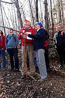 NWA Democrat-Gazette/FLIP PUTTHOFF<br />Cris and Eleanor Jones help hikers Feb. 17 2018 identify trees along the Back 40 Trail System.
