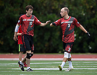 May 24, 2015; Los Angeles, CA, USA; Los Angeles Aviators offensive cutter Sean McDougall (10) and offensive handler Joe Forbes (3) celebrate against the San Francisco Flamethrowers in an American Ultimate Disc League (AUDL) match at Occidental College. The Aviators defeated the Flamethrowers 23-22. <br /> <br /> Photo by Kirby Lee