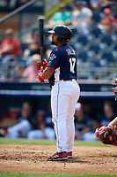 Reading Fightin Phils catcher Deivi Grullon (17) at bat during the first game of a doubleheader against the Portland Sea Dogs on May 15, 2018 at FirstEnergy Stadium in Reading, Pennsylvania.  Portland defeated Reading 8-4.  (Mike Janes/Four Seam Images)