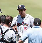 Masahiro Tanaka (RailRiders), MAY 27, 2015 - 3A : New York Yankees pitcher Masahiro Tanaka suffers from the accident the mound tearing during a minor league baseball game against the Pawtucket Red Sox at McCoy Stadium in Pawtucket, Rhode Island, United States. (Photo by AFLO)