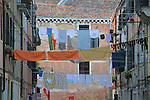 Italy, Venice.  Laundry Art. <br />