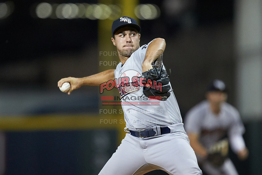 Scranton/Wilkes-Barre RailRiders relief pitcher J.P. Feyereisen (18) in action against the Gwinnett Stripers at BB&T BallPark on August 18, 2019 in Lawrenceville, Georgia. The RailRiders defeated the Stripers 9-3. (Brian Westerholt/Four Seam Images)