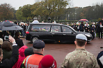 © Joel Goodman - 07973 332324 . No syndication permitted . 11/11/2012 . Lytham Park Crematorium , UK . The cortege arrives at the crematorium . Hundreds of strangers at the funeral of World War Two veteran Harold Jellicoe Percival today (Monday 11th November 2013) . The funeral is timed to coincide with the First World War armistice , the 95th anniversary of which is at 11am today (Monday 11th November 2013) . The RAF Bomber Command veteran died in his sleep on 25th October 2013 , aged 99 , at Alistre Lodge Nursing Home in St Annes , Lancashire , with no immediate family . Photo credit : Joel Goodman