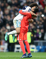 Real Madrid's Marcelo Vieira (l) and Keylor Navas celebrate goal during Champions League Quarter-Finals 2nd leg match. April 11,2018. (ALTERPHOTOS/Acero) /NortePhoto.com