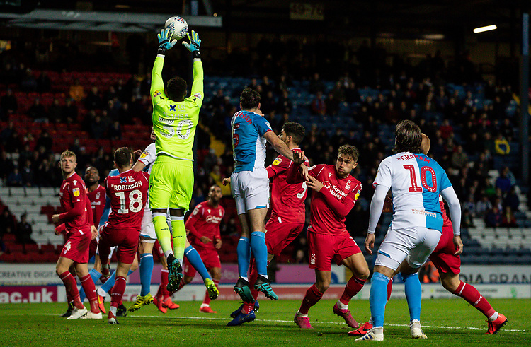 Nottingham Forest's goalkeeper Brice Samba catches a Blackburn Rovers' corner kick<br /> <br /> Photographer Andrew Kearns/CameraSport<br /> <br /> The EFL Sky Bet Championship - Blackburn Rovers v Nottingham Forest - Tuesday 1st October 2019  - Ewood Park - Blackburn<br /> <br /> World Copyright © 2019 CameraSport. All rights reserved. 43 Linden Ave. Countesthorpe. Leicester. England. LE8 5PG - Tel: +44 (0) 116 277 4147 - admin@camerasport.com - www.camerasport.com