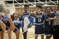 NWA Democrat-Gazette/CHARLIE KAIJO Springdale Har-Ber High School basketball players react after winning basketball game on Friday, January 12, 2018 at Bentonville High School in Bentonville. Springdale Har-Ber High School defeated Bentonville High School 72-62