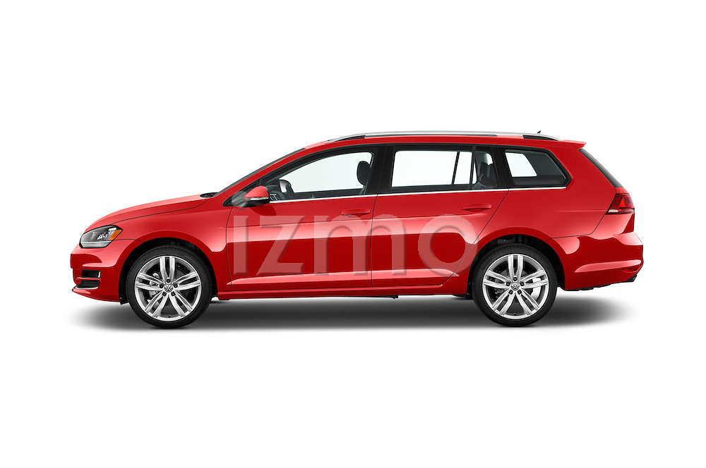 Car Driver side profile view of a 2015 Volkswagen Golf Highline 5 Door Wagon 2WD Side View