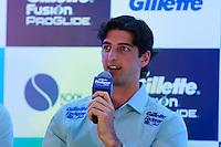 ATENÇÃO EDITOR: FOTO EMBARGADA PARA VEÍCULOS INTERNACIONAIS. SAO PAULO, SP, 06 DE DEZEMBRO DE 2012. APRESENTAÇÃO DO TORNEIO GILLETTE FEDERER TOUR.  o tenista Thomas Belucci durante a apresentação do novo torneio Gillette Federer Tour,  na manhã desta quinta feira na zona sul da capital paulista. O Gillette Federer Tour reunirá, durante quatro dias, o melhor do tênis mundial, no Ginásio do Ibirapuera, de 6 a 9 de dezembro, com a participação de grandes estrelas como Roger Federer, Tommy Haas, Thomaz Bellucci, Jo-Wilfried Tsonga, Tommy Robredo, Victoria Azarenka, Maria Sharapova, Serena Williams, Caroline Wozniacki, Bob e Mike Bryan e Marcelo Melo e Bruno Soares.  FOTO ADRIANA SPACA - BRAZIL PHOTO PRESS