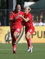 Abby Wambach (2) and Lori Lindsey (6). Washington Freedom defeated FC Gold Pride 4-3 at Buck Shaw Stadium in Santa Clara, California on April 26, 2009.