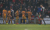 Tom Owen-Evans of Newport County celebrates scoring his side's first goal with Jennison Myrie-Williams during the Sky Bet League 2 match between Newport County and Morecambe at Rodney Parade, Newport, Wales on 10 December 2016. Photo by Mark  Hawkins.